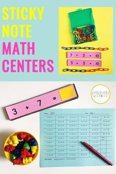 Print and add sticky notes to create these EASY number sentence centers! We use these in first grade as warm-ups for guided math small groups and math centers. From Positively Learning #mathcenters #makingten