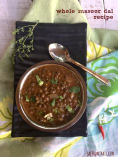 Whole Masoor Dal (sabut masoor or Whole red lentils) is one of the easiest dals to cook, a healthy side for rice or rotis. Get the recipe! Lentil Recipes Indian, Indian Soup, Indian Chicken Recipes, Goan Recipes, Indian Dishes, Indian Food Recipes, Vegetarian Recipes, Cooking Recipes, Ethnic Recipes