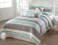 Amazon.com - BACHELOR 7pc Comforter Set Light Blue, Beige, Grey Striped Bed-in-a-bag KING Size Bedding - Teal And Grey Bedding King