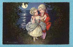 S9896 Colombo postcard, Victorian children in moonlight