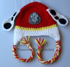 Crochet Marshall Paw Patrol toddler hat and mittens set