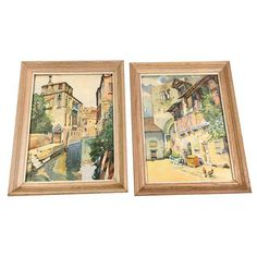 Image of Pair of Mid-Century Framed Venice Watercolor Landscape Paintings