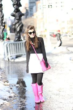 Wondering how to wear your hot pink hunter rain boots? Visit this post to see a super cute winter outfit featuring my hot pink wellies and black tights! Pink Hunter Rain Boots, Wellies Rain Boots, Rainy Day Fashion, City Outfits, Cute Winter Outfits, Black Tights, Autumn Winter Fashion, Hot Pink, Fashion Inspiration