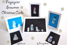Get creative with these snowmen fingerprint christmas cards.