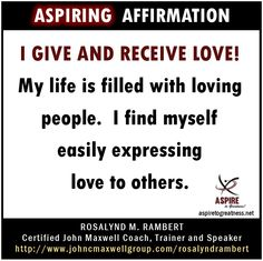 What will you affirm today? I affirm that...