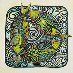 Three by Tanya Mccabe Madhubani Art, Madhubani Painting, Wal Art, Guache, Fish Design, Art Abstrait, Art Moderne, Fish Art, Art Journal Inspiration