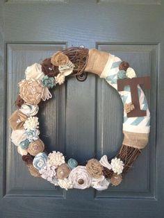 Felt flower wreath, monogram wreath, fabric flower wreath, teal and brown wreath, burlap wreath on Etsy, $38.00