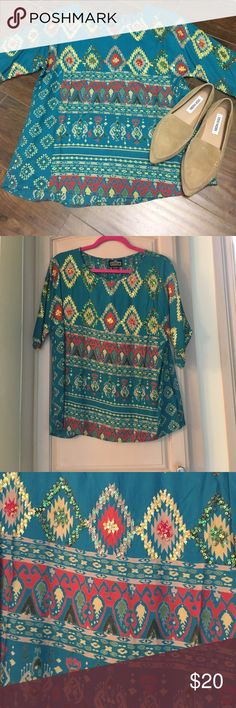 e7b400a814cc32 Angie Tribal Print Blouse size Large Beautiful tribal print and Sequin  blouse by Angie size Large
