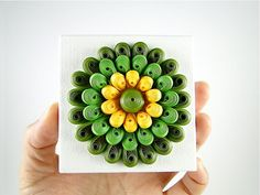 Paper Flower Art / 3D Mini Canvas Art / Quilled Paper / Home Office Decor / Home Decoration