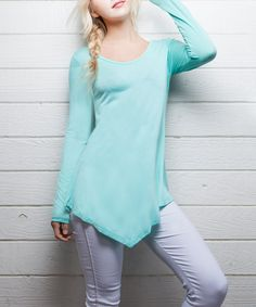 Look at this Mint Asymmetrical-Hem Top on #zulily today!