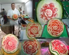 How to make a rose on a watermelon, Art Carving - 5