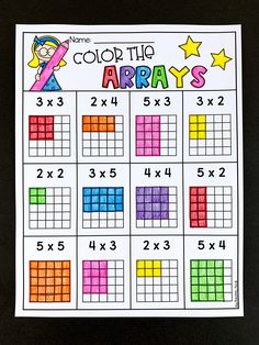 Students color arrays to match the multiplication number sentence. This worksheet is for second grade. Math Classroom, Kindergarten Math, Teaching Math, Multiplication Worksheets, School Worksheets, Multiplication Strategies, Array Multiplication, Math Fractions, Math For Kids