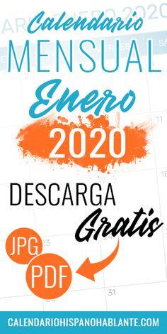 Calendario mensual del mes de Enero del 2020 para descargar gratis en formato PDG y JPG. #calendariomensual #enero #calendario #2020 Jpg, Calm, Month Of August, Monthly Planner, Monthly Calendars
