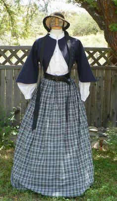 Cotton Homespun Plaid Skirt Civil War Victorian by ItsNotPajamas