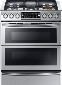 """Samsung - Chef Collection 30"""" 5.8 Cu. Ft. Self-Cleaning Slide-In Double Oven Dual Fuel Convection Range - Stainless Steel - Front Zoom"""