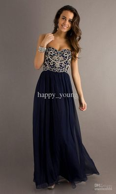 Wholesale Prom Dresses - Buy Masterfully Sweetheart Embroidery Dark Navy Blue Long Cheap Chiffon Prom Dresses 2013, $123.86 | DHgate