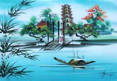 Landscape silk painting Vietnam