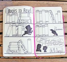 """An illustrated """"books to read"""" page in a bullet journal."""