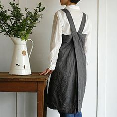 KINFOLK aprons | Pod — Fog Linen Cross Apron. The best for my taste and use