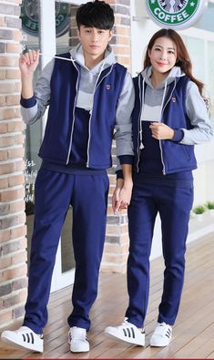 Three-piece thick sets plus velvet Korean style couple clothes Chic Outfits, Sport Outfits, Girl Outfits, Fashion Outfits, School Girl Dress, School Dresses, Cheer Practice Outfits, School Uniform Fashion, Korean Uniform School