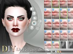 6 different lip piercings for the left, middle or right lip (All in one, 18 piercings). All come in 5 colors and can be combined however you want to, or use them on their own.  Found in TSR...