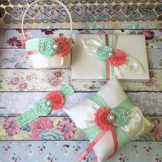 Mint and Coral Flower girl basket / rustic wedding basket / flower gir – Fallen Star Couture Inc.