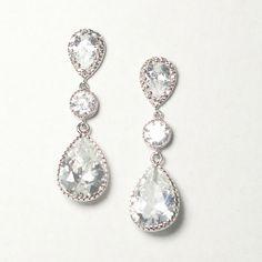 Braut Ohrringe mit Zirkonia Kristallen von BeChicAccessories auf DaWanda.com