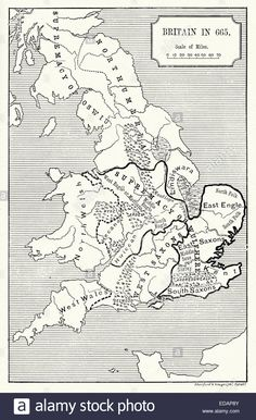 Map of Britain in 665 AD showing the supremacy of King Wulfhere. Wulfhere or Wulfar (died 675) was King of Mercia from 658 until Stock Photo
