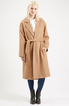 Topshop Long Belted Coat (Nordstrom Exclusive) available at #Nordstrom
