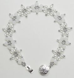 Deb Roberti's Crystal Flower Bracelet and Earrings pattern.