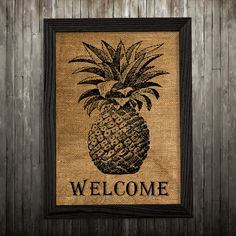 Pineapple print. Burlap poster. Food decor. Kitchen print.  PLEASE NOTE: this is not actual burlap, this is an art print, the image is printed on