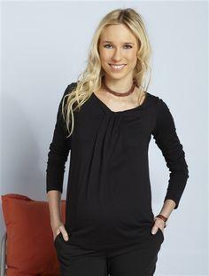 T-shirt encolure drapée de grossesse NOIR+ROSE VIF - vertbaudet enfant  Encolure, ce98eacb0087