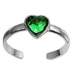 Silver Toe Ring w/ CZ - Heart