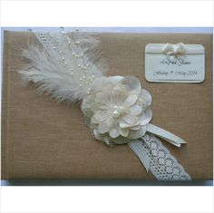 Wedding Guest Book, brown shabby chic, flower, lace, feather, bead, personalise