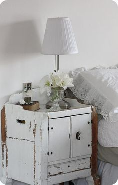 Enchanting old white chippy bedside table!