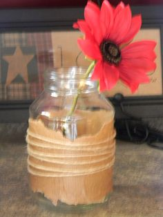 Rustic Paper Bag Jar Centerpiece with string by ATouchofPrimitive, $6.99