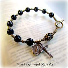 Cross Bracelet - Mans Rosary Large size Beads Black Onyx. $23.00, via Etsy.
