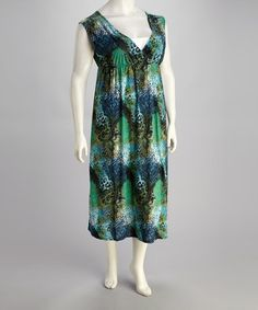 Take a look at this Green Leopard Plus-Size Sleeveless Maxi Dress by Atop Apparel on #zulily today!