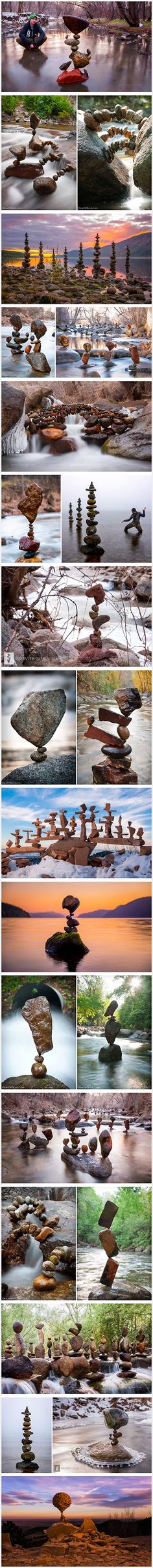 We're having a hard time deciding whether Michael Grab is an artist or a magician, because he creates stunning structure from finely balanced rocks that seem to defy the law of physics. These seemingly impossible structures require intense concentration and meditative focus.