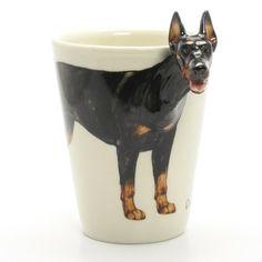 http://www.muddymood.com  Original hand sculpt and hand paint   Doberman Pinscher Dog Mug Handmade.