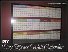 suzyhomemaker: diy dry-erase wall calendar