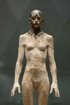 Aron Demetz sculptures, plastic arts, visual arts, fine arts