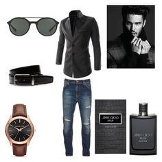 """Untitled #165"" by miskimuslim ❤ liked on Polyvore featuring Nudie Jeans Co., Jimmy Choo, Giorgio Armani, Michael Kors, Lacoste, men's fashion and menswear"