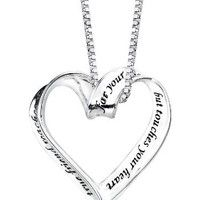 """Sterling Silver : A True Friend Reaches For Your Hand But Touches Your Heart : Ribbon Heart Pendant Necklace, 18"""": Jewelry"""