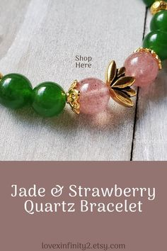This beautiful green jade bracelet jewelry features a gold TierraCast Lotus flower bead. Made with Chinese green jade gemstone beads and strawberry quartz beads. Stretch Bracelet.    In Feng Shui, jade is known for harmony, balance, protection, good luck and prosperity.    The lotus flower is a symbol of ultimate perfection. In Feng Shui the lotus flower evokes a feeling of beauty, grace and delicate sensuality. It is said to bring good luck and blessings. Jade Bracelet, Flower Bracelet, Gemstone Bracelets, Gemstone Jewelry, Jewelry Bracelets, Feng Shui Jewellery, Good Luck Bracelet, Bracelets With Meaning, Christian Jewelry
