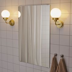 The soft, round shapes and use of metal and glass create a timeless look that resembles lamps of the past. It is approved for bathroom use and is also a good solution for hallways. What Is Glass, Upstairs Bathrooms, Basement Bathroom, Ikea Bathroom Lighting, Master Bathroom, Chic Bathrooms, Brass Color, Glass Shades, Custom Homes