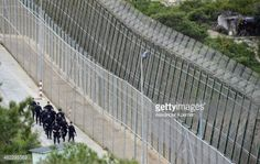 MELILLA, SPAIN - APRIL 03: Anti-riot Police Officers guard the... #melilla: MELILLA, SPAIN - APRIL 03: Anti-riot Police Officers… #melilla