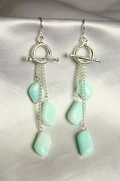 Toggle Dangle Earrings with Angelite Stone Beads by ConceptAna - love the creative use of the toggle clasp!
