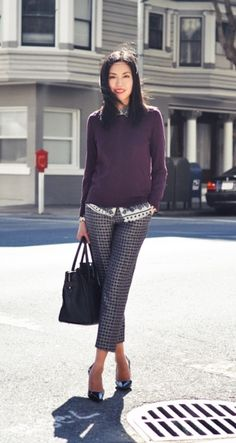 lovely printed trousers look from Anh at chic Office Outfits, Office Wear, Work Outfits, Outfit Work, Outfit Ideas, Office Jobs, Casual Office, Office Style, Chic Outfits