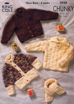 Knit Baby Chunky Cardigan Sweater Scarf Vintage Knitting Pattern aran cable…